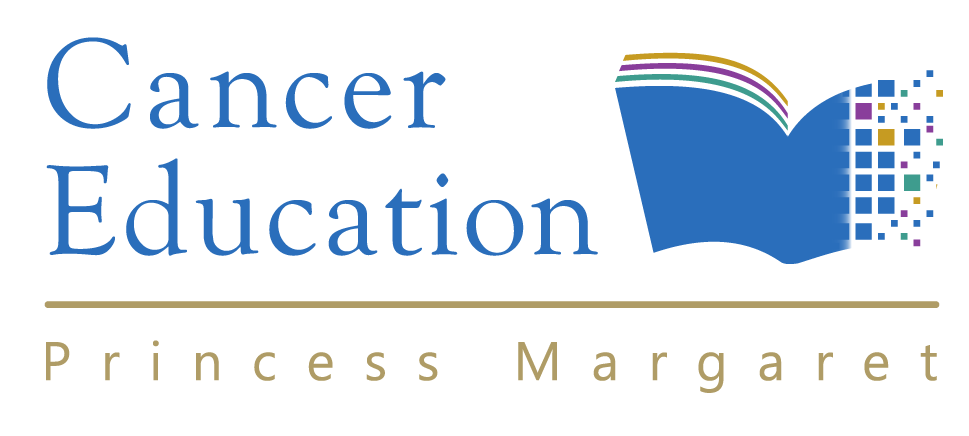 Cancer Education Logo - an open book with a digital elements on one side